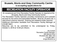 RECREATION FACILITY OPERATOR wanted