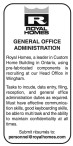 GENERAL OFFICE ADMINISTRATION Needed
