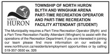 PART-TIME RECREATION OPERATOR AND PART-TIME RECREATION FACILITY ATTENDANT Wanted