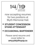 Now accepting resumes for two positions at Blyth Memorial Hall: